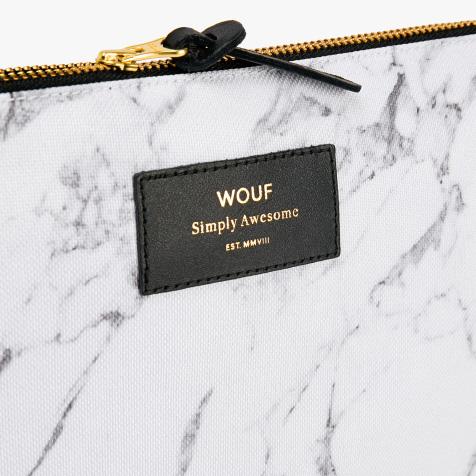 Pochette marbre blanc Wouf