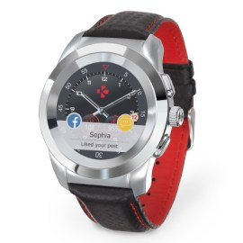 ZeTime Premium regular cadran métal argent bracelet cuir noir coutures rouge MyKronoz