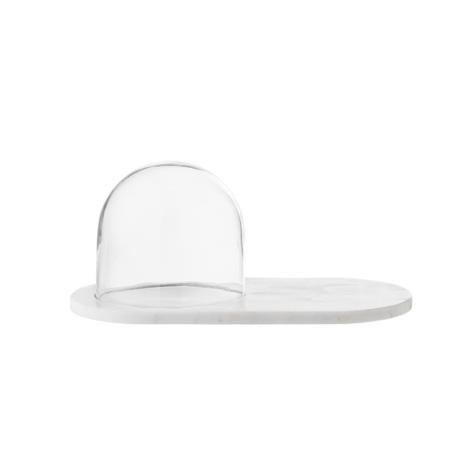 Dome décoratif en verre et marbre blanc Bloomingville
