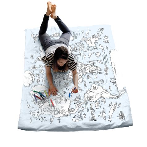 Housse de couette carte du monde à colorier Doodle Craenen