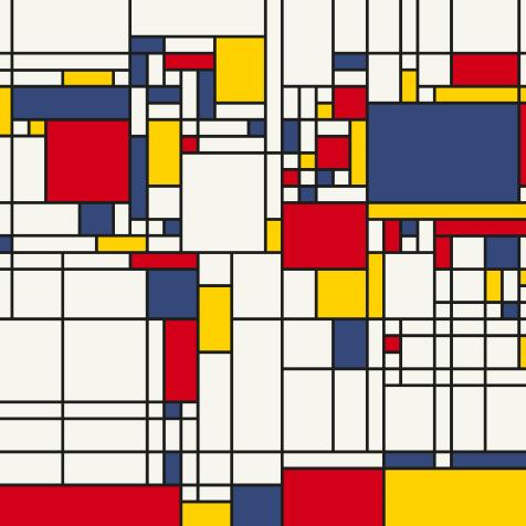 Carte du monde style Piet Mondrian Craenen
