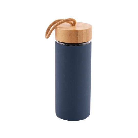 Bouteille en verre 450ml avec anneau en silicone – Bleu foncé