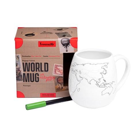 Mug Carte du Monde à colorier par TROUVAILLE
