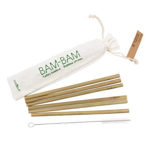 Jeu de 6 pailles réutilisables en bambou avec sachet de rangement et brosse de nettoyage