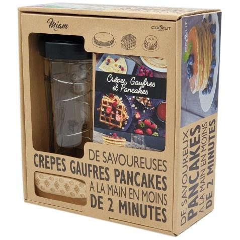 Coffret cadeau MIAM : Shaker à crêpes, pancakes et gauffres avec son tartineur