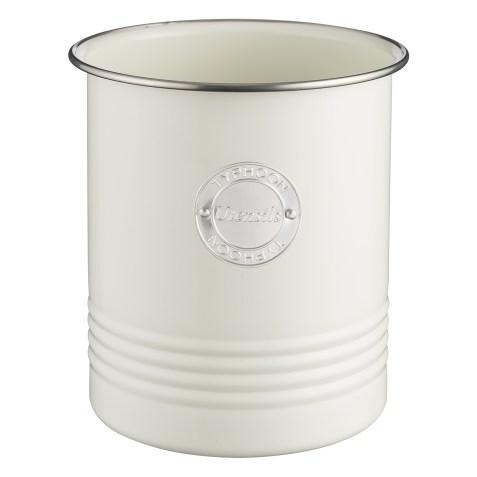 Pot à ustensiles de cuisine Vintage Crème