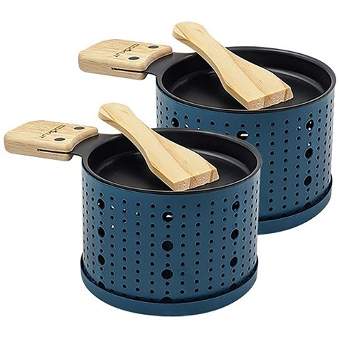 2 sets à raclette individuels à la bougie Bleu Cookut