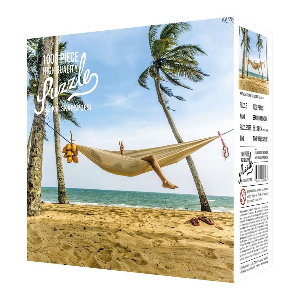 Puzzle 1000 pièces – Une plage, un hamac.