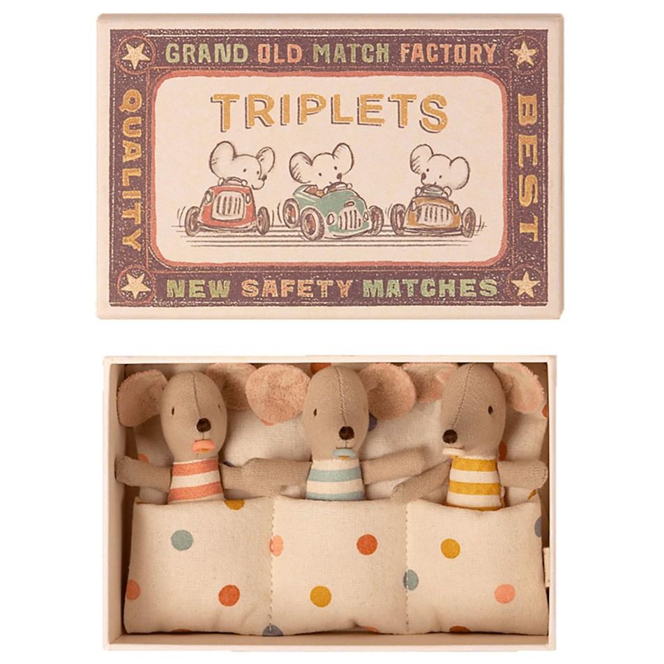 Mice in a Matchbox by Maileg Bébés souris Triplés dans leur Boite d'allumette