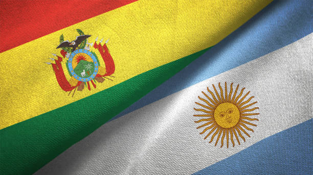Argentina and Bolivia flag together realtions textile cloth fabric texture