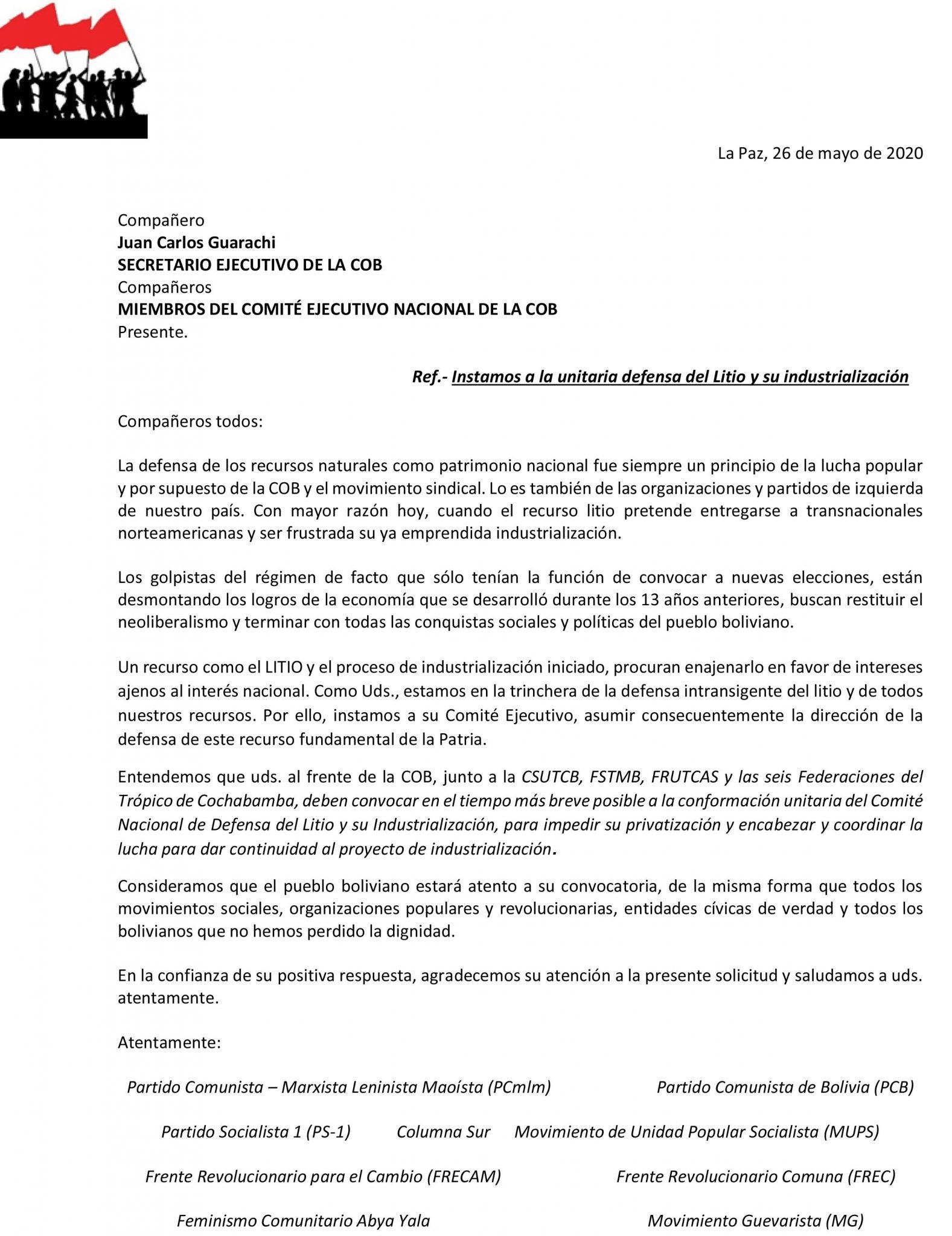 Carta de la Izquierda a la COB