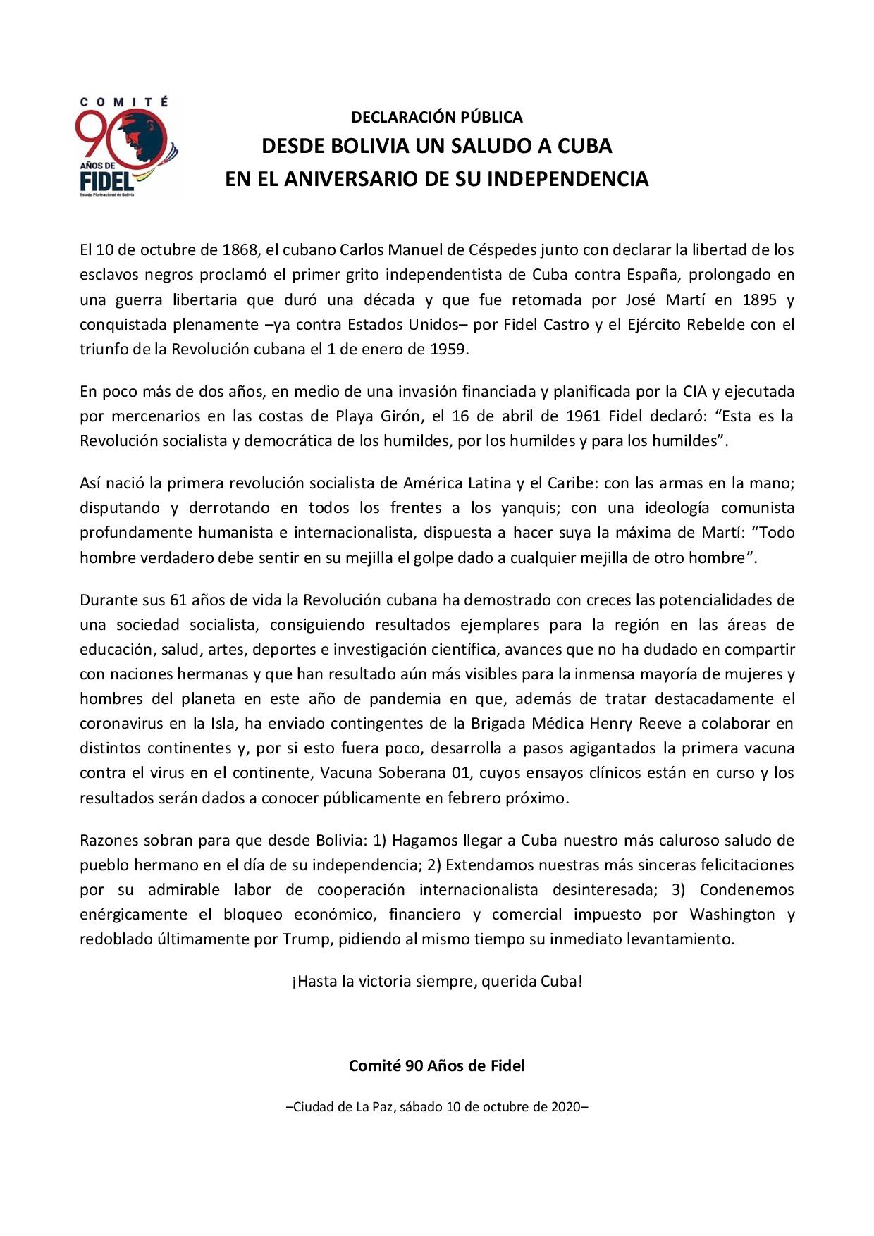 Declaración pública. Saludo a Cuba (Comité 90 Años de Fidel-Bolivia)
