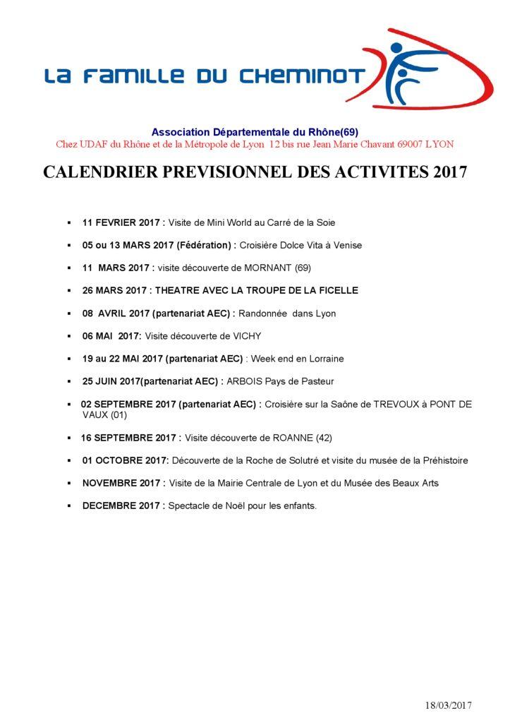 AD 69 Programme des sorties 2017