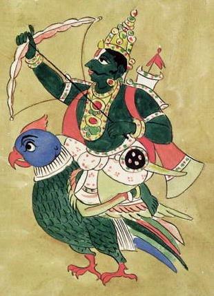 Kamadeva est une divinité hindou de l'amour. Il lance des flèches de fleurs sur les couples pour qu'ils tombent amoureux.