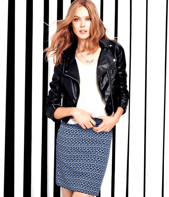 Veste en cuir et jupe droite aux motifs géométriques de H&M 2013