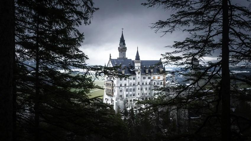 Baviere en hiver chateau Neuschwanstein foret