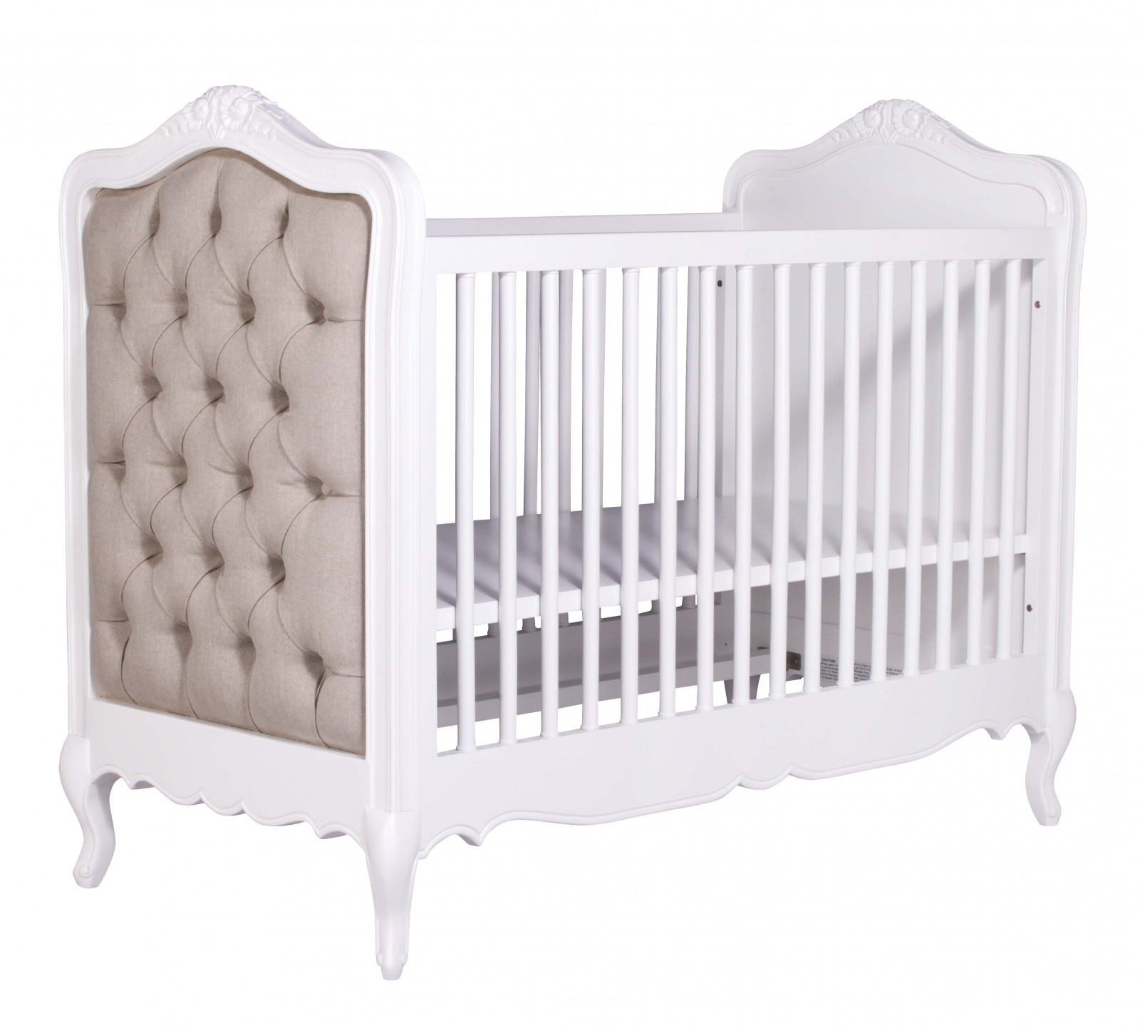 French White Upholstered Buttoned Cot Bed Furniture La Maison Chic Luxury Interiors
