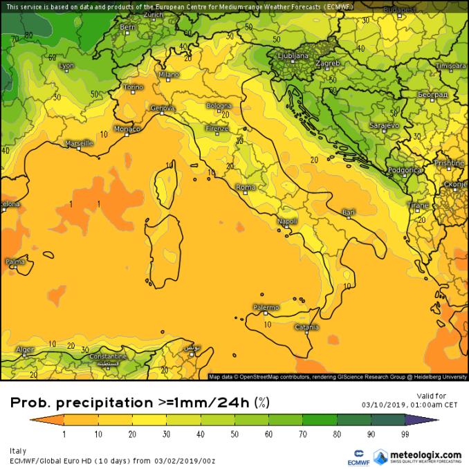 Previsioni Marzo 2019: fine della siccita al Nord