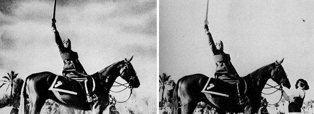 Mussolini avec et sans son écuyer