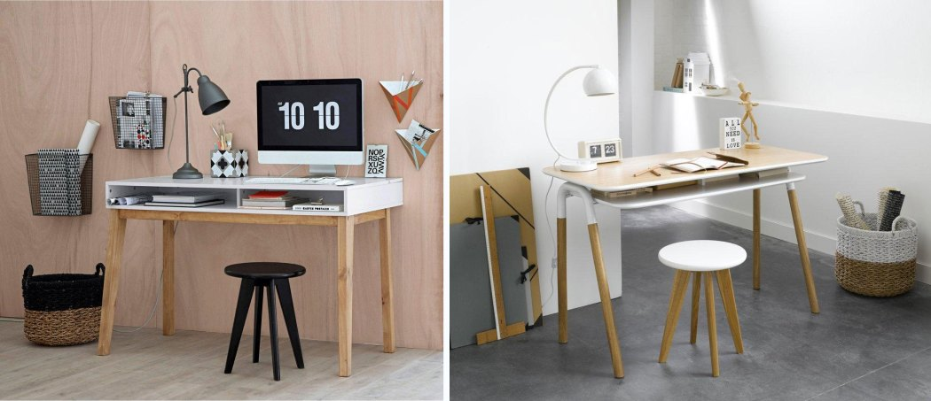 bureau design deco bois blanc style scandinave la redoute la seinographe. Black Bedroom Furniture Sets. Home Design Ideas