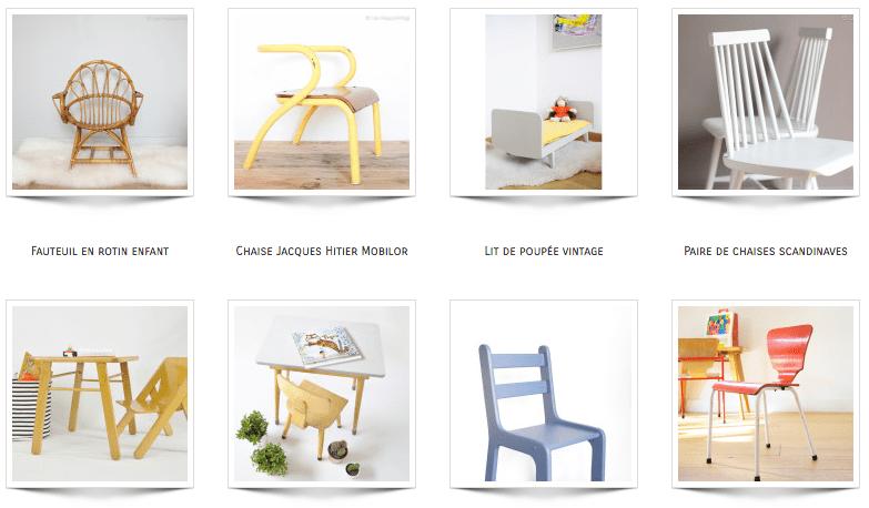 mobilier vintage chaise écolier kids enfants les happy vintage