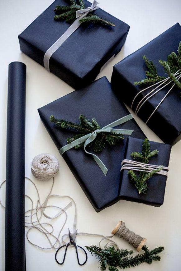 idees paquets cadeaux noel emballages rubans kraft black