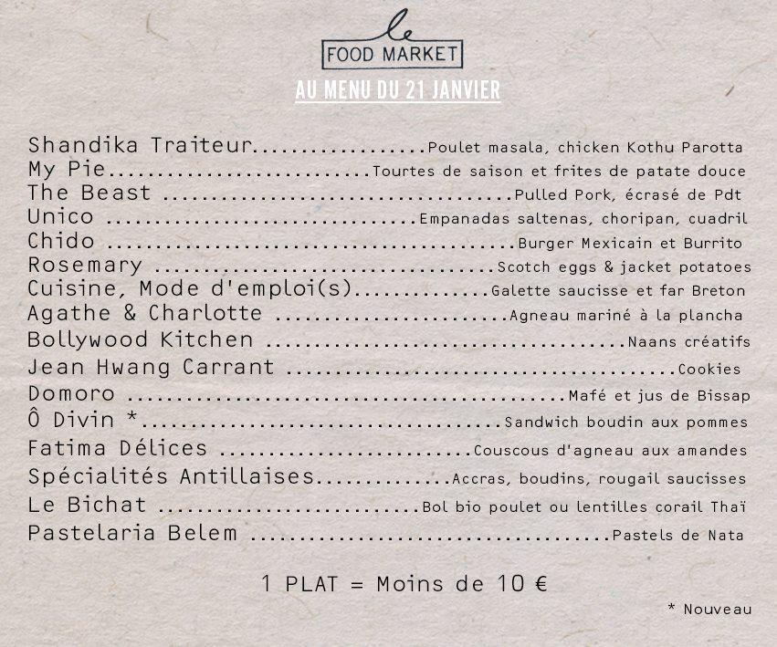 menu resto food market rue de belleville paris