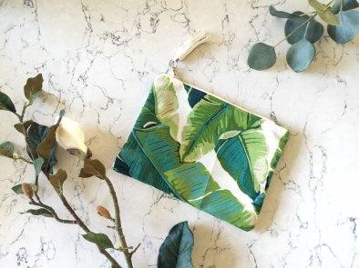 pochette tissu magnolia palmiers