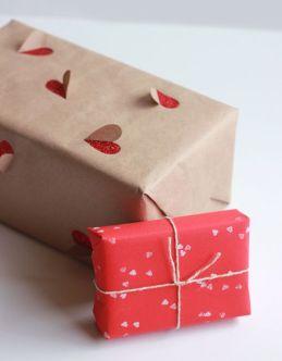 saint valentin idee paquet cadeau coeur kraft diy do it yourself