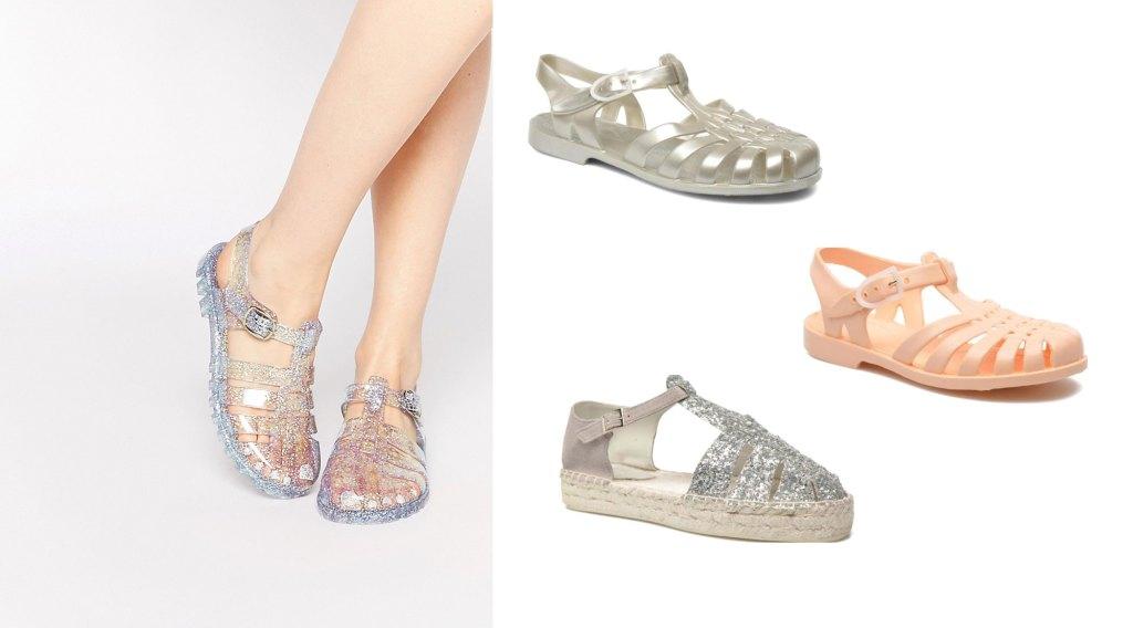 sandales-chaussures-meduses-paillettes-dorees-argent-peche