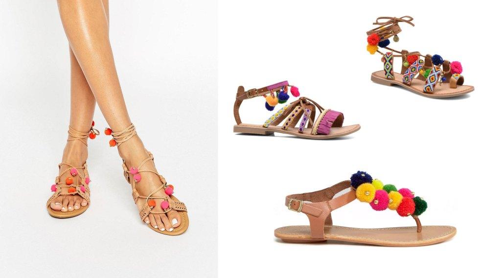 sandales-cuir-pompons-colores-asos