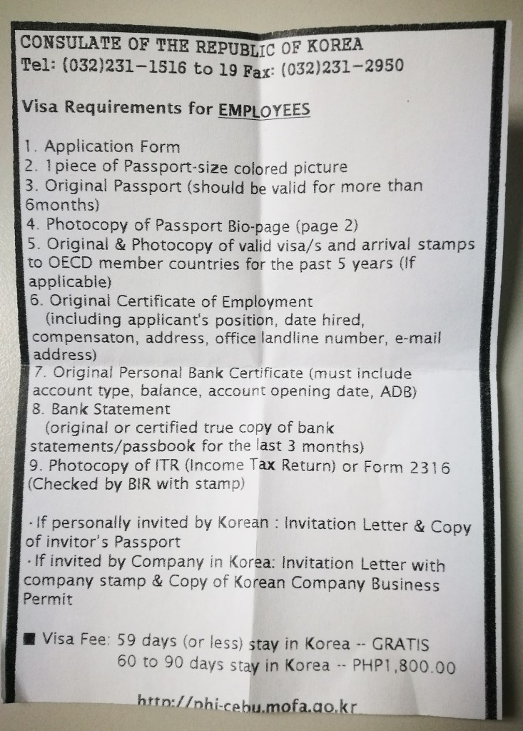 South Korea Tourist Visa Requirements for Employees
