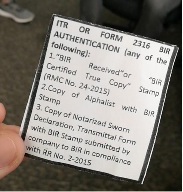 ITR / BIR 2316 Requirement for South Korean Visa