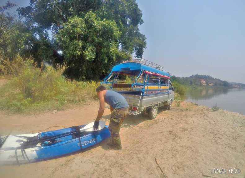 Kayaking in Mekong River, Laos