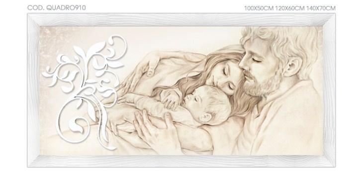 """DESIGN910 Quadro capezzale moderno su tela """"Unione Famiglia"""" (non a tema sacro)"""