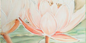 FLOWERS606 quadro moderno su tela con fiori floreale ninfee