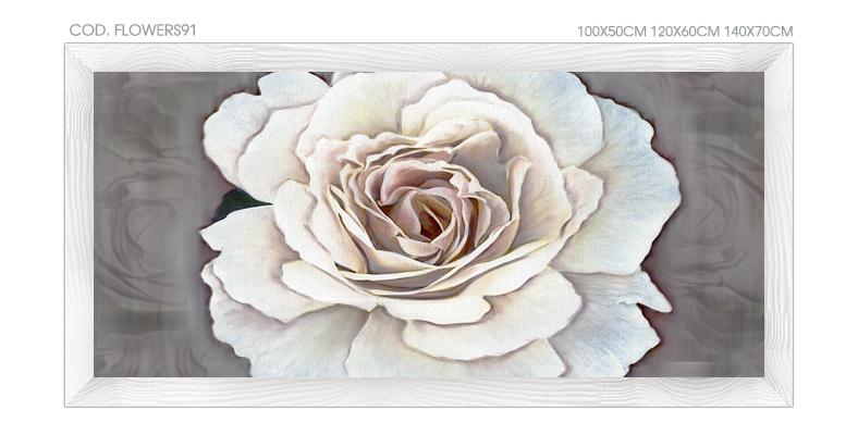 """FLOWERS91 Quadro moderno su tela con fiori """"Floreale con Rosa"""""""
