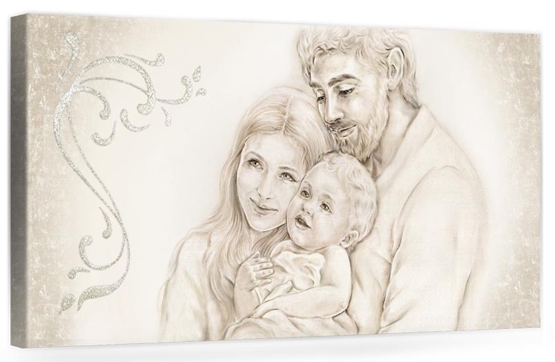 Quadro moderno su tela per la camera da letto con decorazioni 3D - Immagine Il calore unione della famiglia