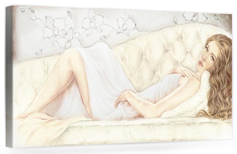 B047 Quadro moderno con dama, donna distesa, nudo artistico