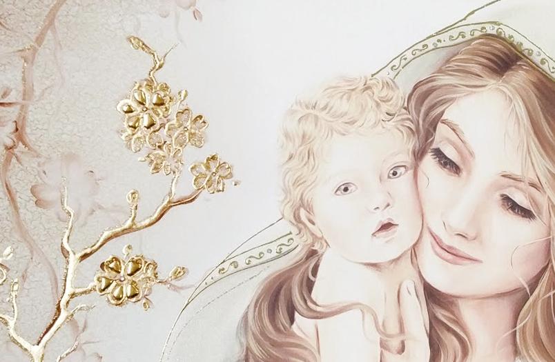 BASIC03 Quadro moderno su tela sacro Maternità madonna con bambino camera da letto dettaglio