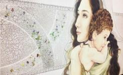PRESTIGE06 Quadro moderno sacro con vetri di Murano, Madonna con bambino