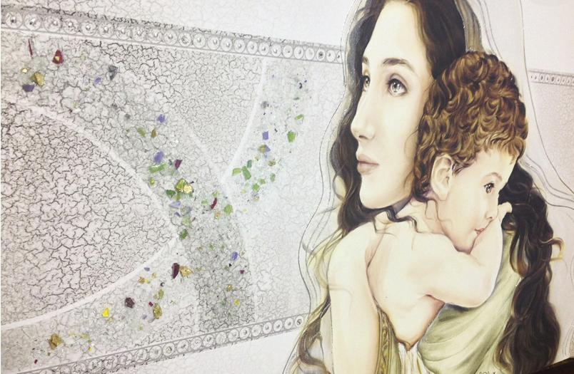 PRESTIGE06 Capezzale quadro moderno su tela sacro madonna con bambino per la camera da letto - Dettaglio