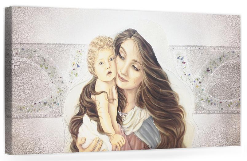 PRESTIGE09 Capezzale quadro moderno su tela sacro madonna con bambino per la camera da letto