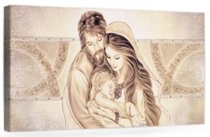 PRESTIGE10 Capezzale quadro moderno su tela sacro con sacra famiglia per la camera da letto