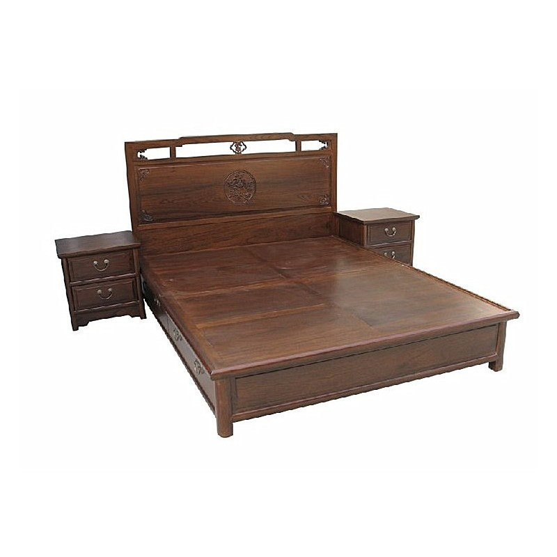 chinese bed with 2 bedside tables meubles labaiedhalong com