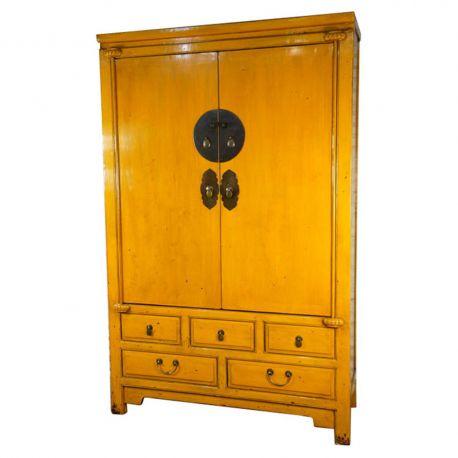 armoire de mariage chinoise jaune