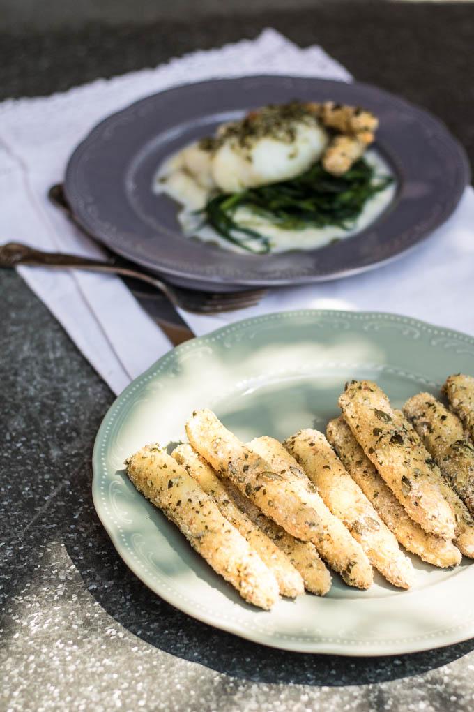 Merluzzo alla crema di asparagi e asparagi gratinati