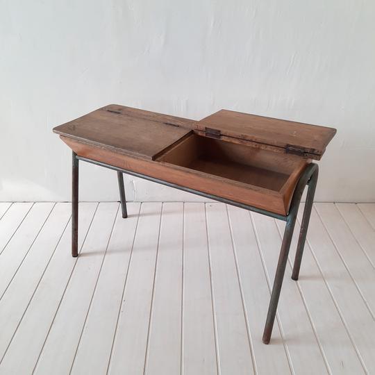 bureau d ecolier en bois ancien 2 places