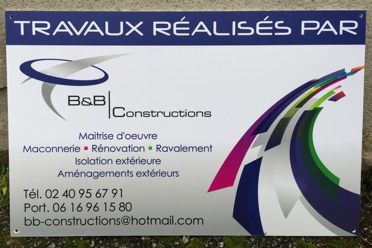 Création graphique et impression de panneau en aquilux 600x400 pour B&B Construction St Herblain