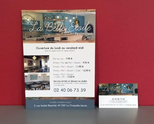 Flyer et carte de visite pour le restaurant La Belle Etoile